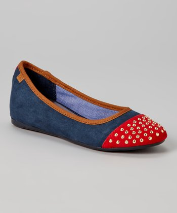 Navy & Red Studded Alyssa Flat
