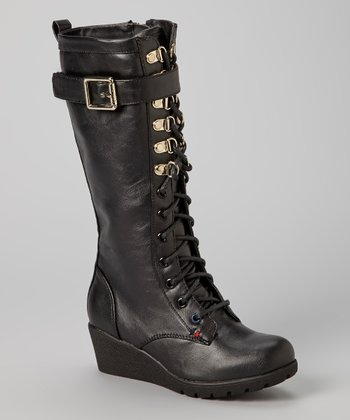 Black Ariel Lace-Up Boot