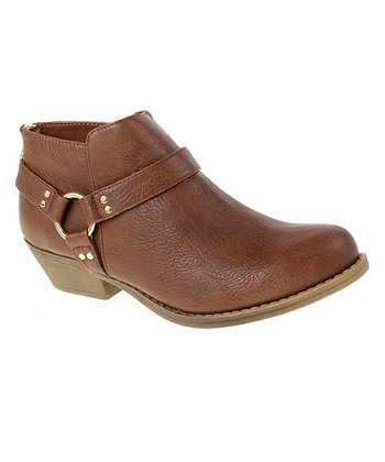 Cognac Buckle Ankle Boot