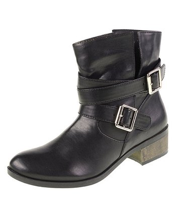 Black Buckle Strap Boot
