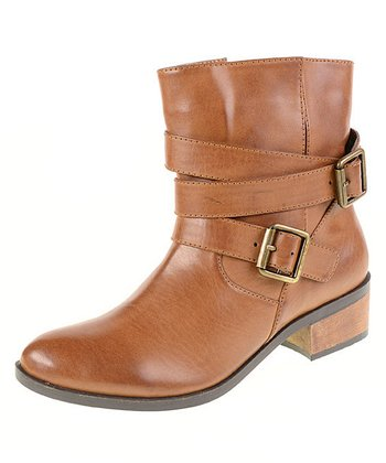 Brown Buckle Strap Boot