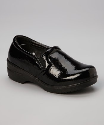 Black Patent Clog - Kids