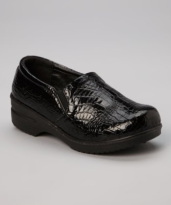 Black Crocodile Patent Clog - Kids