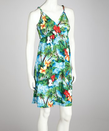 Blue & Green Hawaii Sleeveless Dress - Women