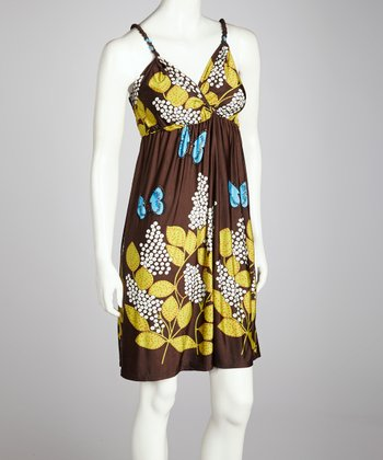 Brown Butterfly Sleeveless Dress - Women