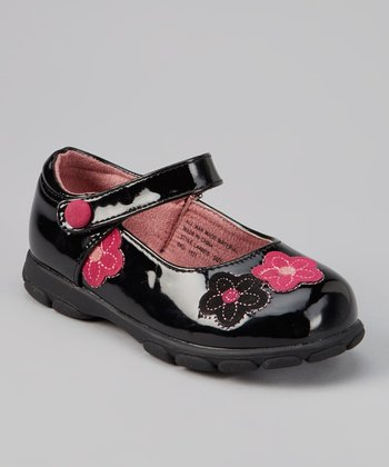 Black Patent Floral Mary Jane
