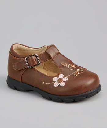 Brown Floral T-Strap Shoe
