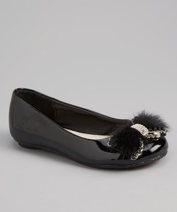 Black Patent Rhinestone Feather Bow Flat