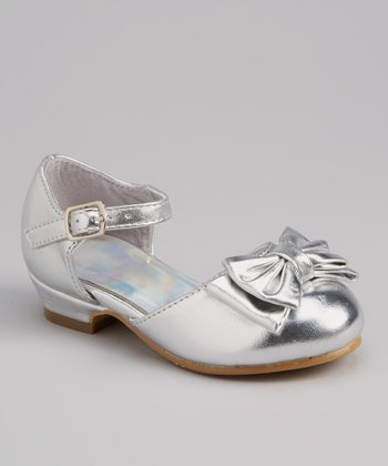 Silver Bow Ankle-Strap Shoe