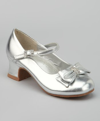 Silver Rhinestone Bow Mary Jane