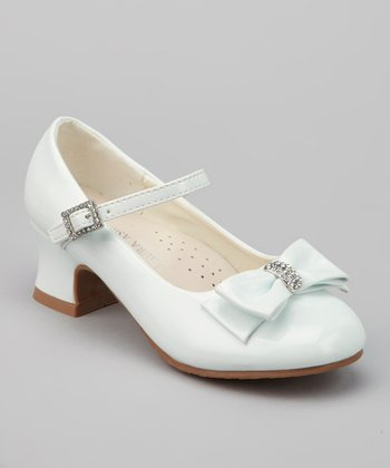 White Patent Rhinestone Bow Mary Jane