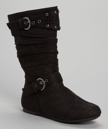 Black Suede-Look Buckle Strap Boots