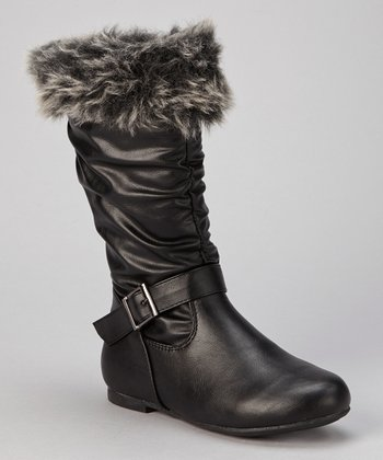 Black Faux Fur Cuff Slouch Boot