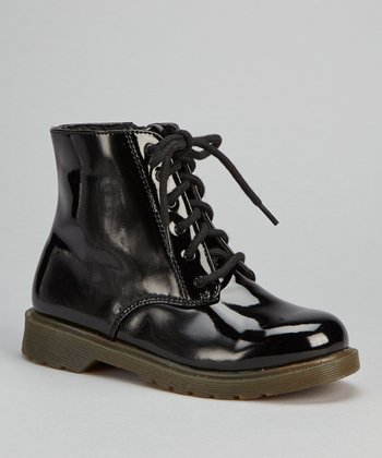 Black Patent Lace-Up Boot