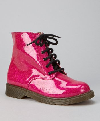 Fuchsia Patent Lace-Up Boot