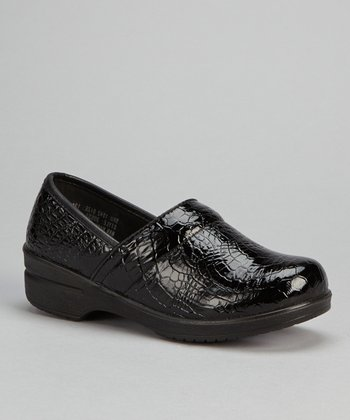 Black Patent Croco Slip-On Shoe