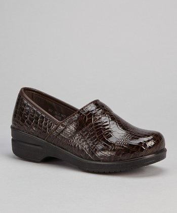 Brown Patent Croco Slip-On Shoe