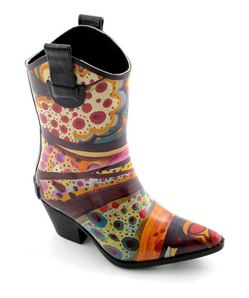 Orange & Brown Abstract Tonto Rain Boot