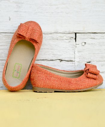 Orange Pumpkin Bow Ballet Flat
