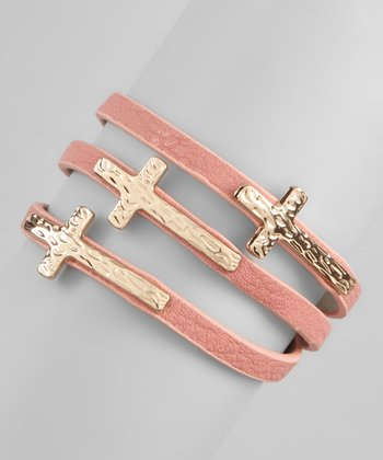 Salmon Triple Cross Bracelet