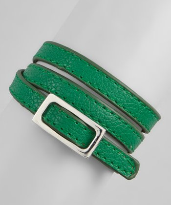 Green & Silver Textured Wrap Bracelet