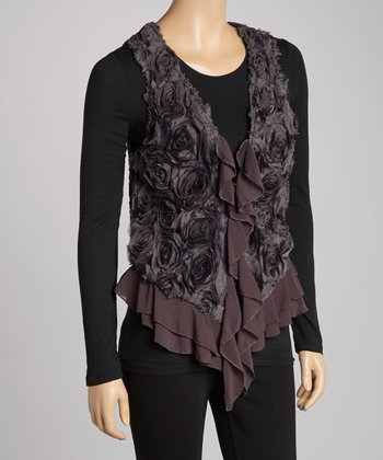Dark Gray Ruffle Silk-Blend Vest