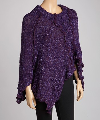 Purple Silk-Wool Blend Handkerchief Sweater - Women