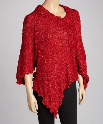 Red Silk-Wool Blend Handkerchief Sweater - Women