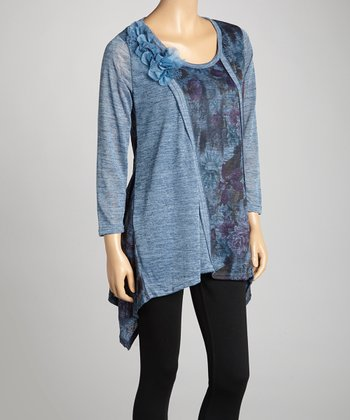 Blue Floral Linen-Blend Sidetail Tunic