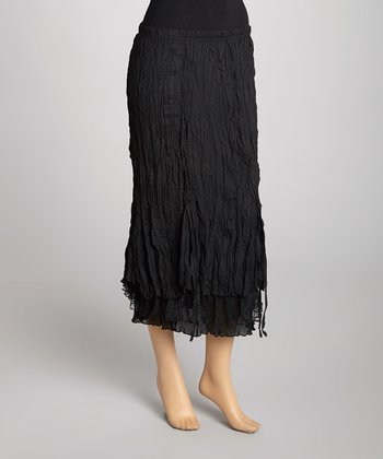Black Silk-Blend Maxi Skirt