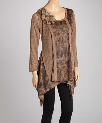 Brown Floral Linen-Blend Sidetail Tunic