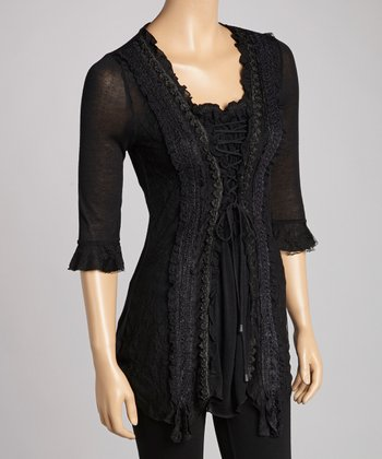 Black Lace-Trim Silk-Blend Tunic