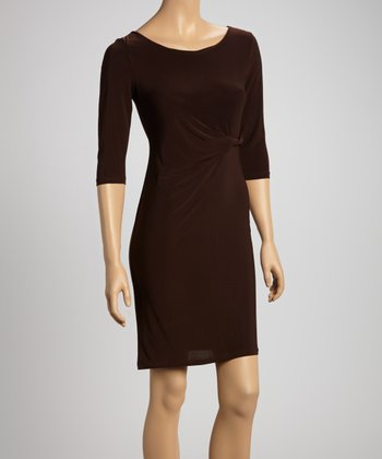 Brown Twist Sheath Dress