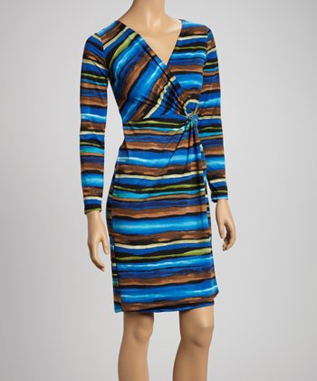 Blue & Brown Stripe Wrap Dress