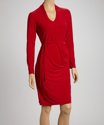 Red Drape Sash-Tie Dress