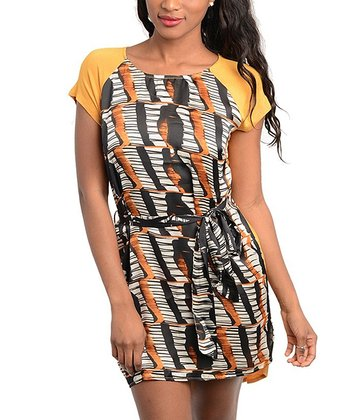 Orange & Black Abstract Sash-Tie Raglan Dress