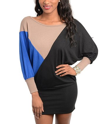 Blue & Beige Geometric Color Block Dress - Women