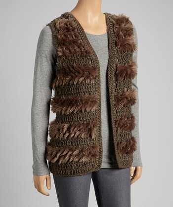 Brown Faux Fur Wool-Blend Open Vest