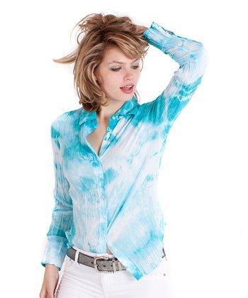 Cino Turquoise & White Tie-Dye Button-Up - Women