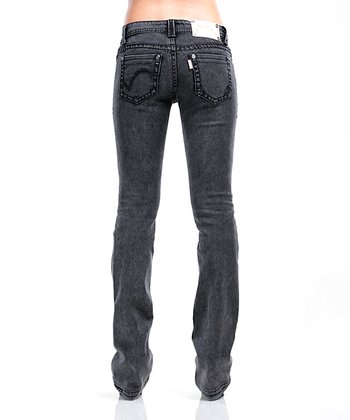 Black Acid Rose Jeans - Women