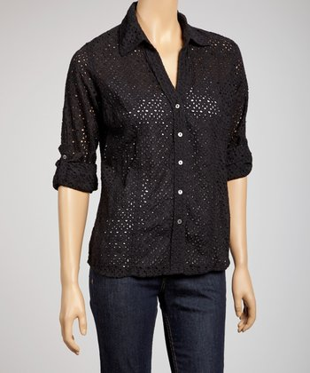 Black Eyelet Button-Up