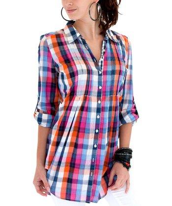 Cino Blue & Fuchsia Plaid Button-Up - Women