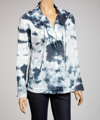 Indigo Ruffle Tie-Dye Button-Up