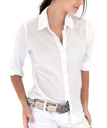 Cino White Sheer Button-Up - Women