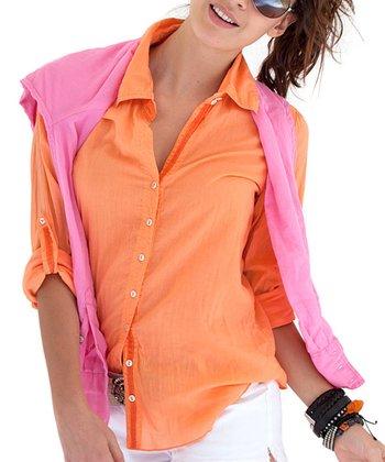 Cino Orange Button-Up - Women