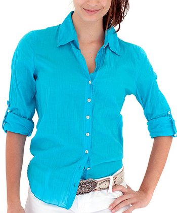 Cino Turquoise Button-Up - Women