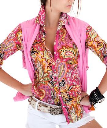 Cino Pink Paisley Button-Up - Women