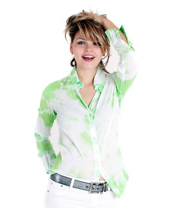 Lime & White Tie-Dye Button-Up