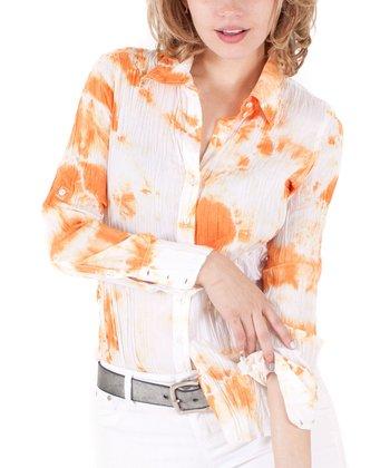 Cino Orange & White Tie-Dye Button-Up - Women
