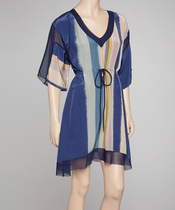 Blue & Cream Aurora Silk Dress
